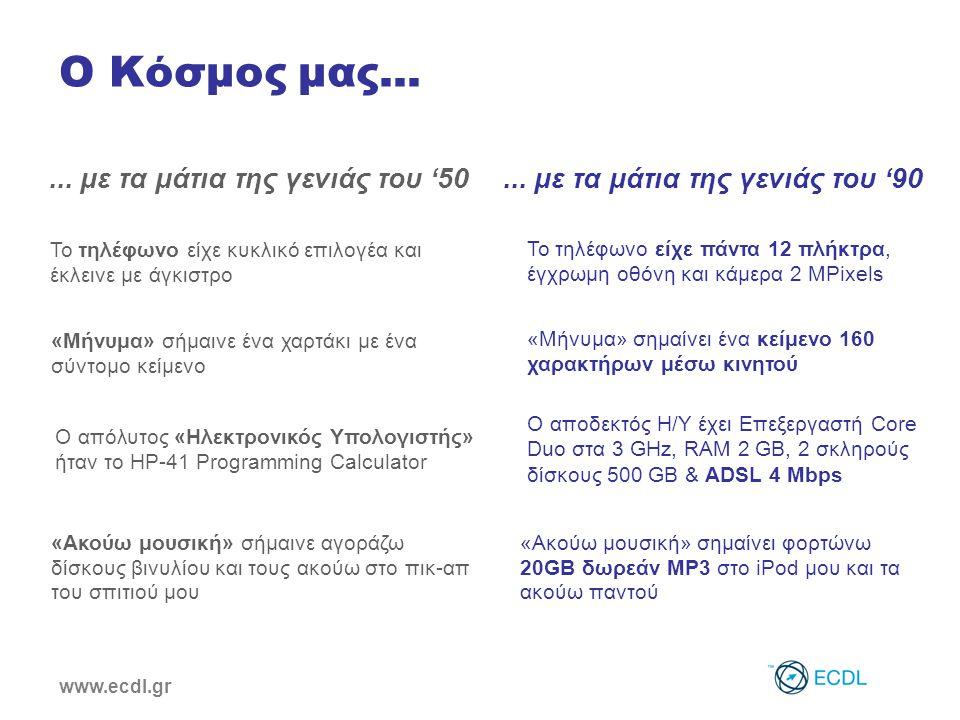 www.ecdl.gr Ο τρόπος που ζούμε έχει αλλάξει ! Internet i-Pod TV Laptop ATM PDA PC Mobile Phone ?