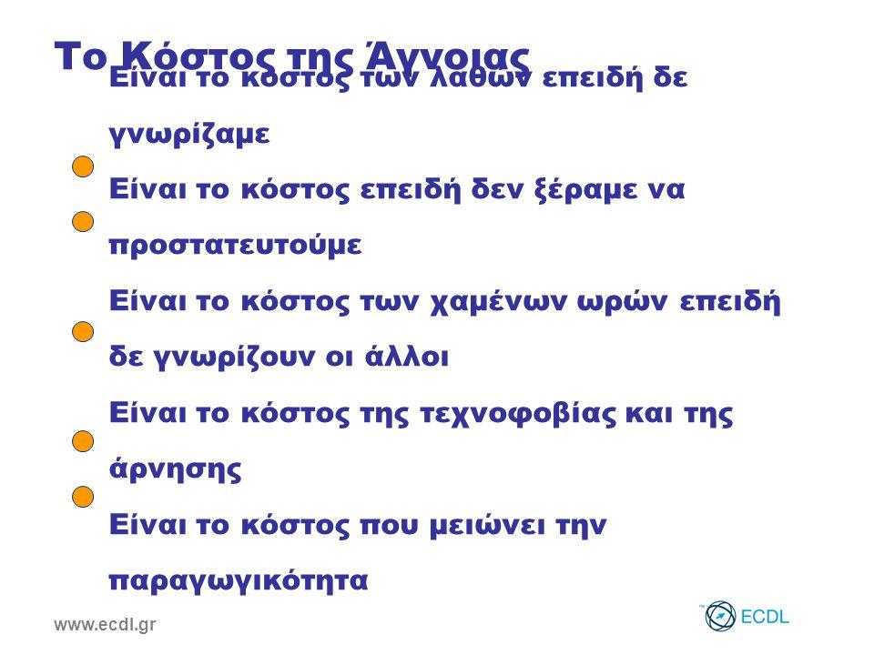 www.ecdl.gr Είναι το κόστος των λαθών επειδή δε γνωρίζαμε Είναι το κόστος επειδή δεν ξέραμε να προστατευτούμε Είναι το κόστος των χαμένων ωρών επειδή δε γνωρίζουν οι άλλοι Είναι το κόστος της τεχνοφοβίας και της άρνησης Είναι το κόστος που μειώνει την παραγωγικότητα Το Κόστος της Άγνοιας