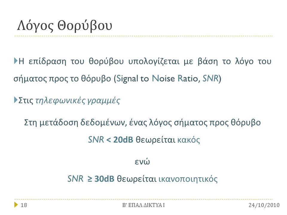 Λόγος Θορύβου  Η επίδραση του θορύβου υπολογίζεται με βάση το λόγο του σήματος προς το θόρυβο (Signal to Noise Ratio, SNR)  Στις τηλεφωνικές γραμμές