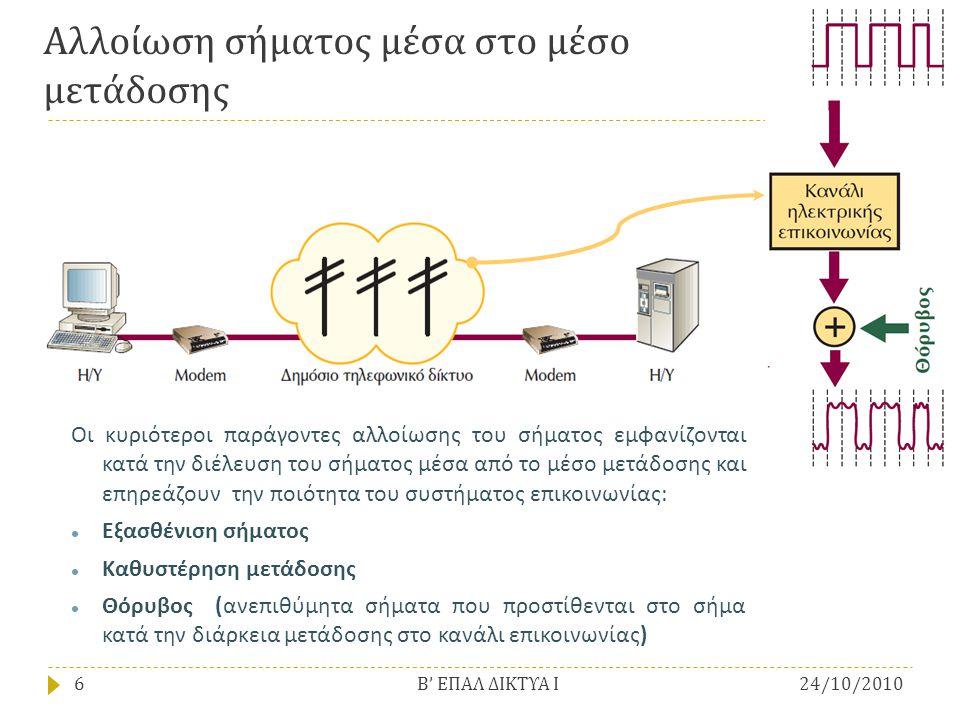 Αλλοίωση σήματος μέσα στο μέσο μετάδοσης Οι κυριότεροι παράγοντες αλλοίωσης του σήματος εμφανίζονται κατά την διέλευση του σήματος μέσα από το μέσο με