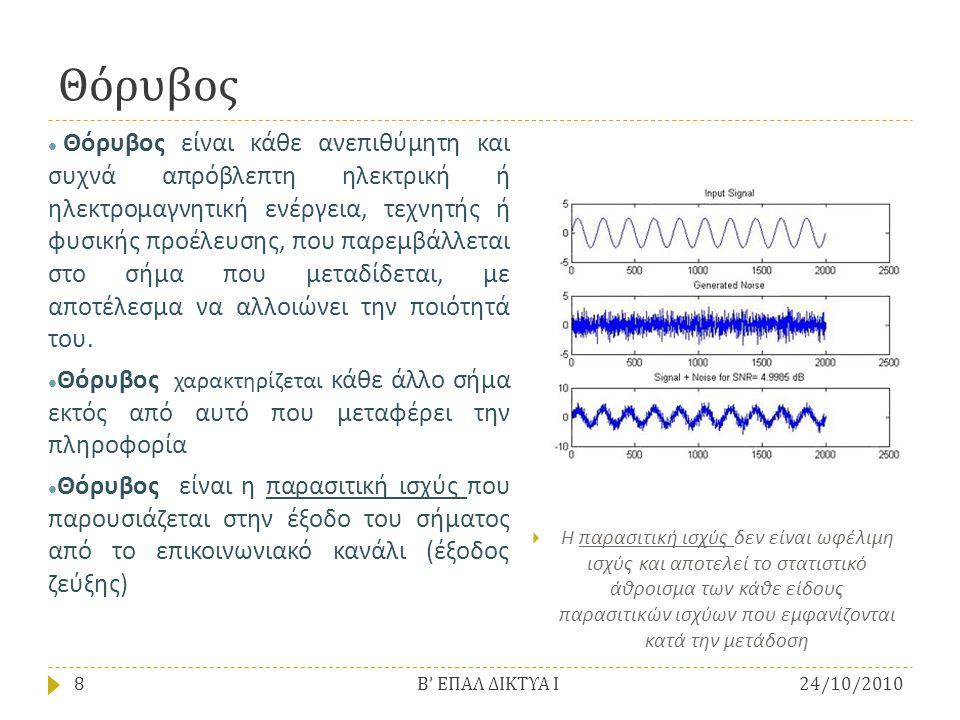 Θόρυβος  Θόρυβος είναι κάθε ανεπιθύμητη και συχνά απρόβλεπτη ηλεκτρική ή ηλεκτρομαγνητική ενέργεια, τεχνητής ή φυσικής προέλευσης, που παρεμβάλλεται