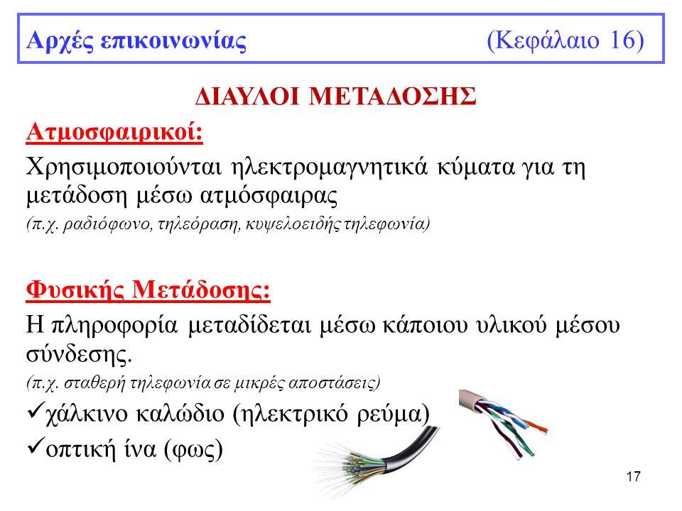 17 Αρχές επικοινωνίας (Κεφάλαιο 16) ΔΙΑΥΛΟΙ ΜΕΤΑΔΟΣΗΣ Ατμοσφαιρικοί: Χρησιμοποιούνται ηλεκτρομαγνητικά κύματα για τη μετάδοση μέσω ατμόσφαιρας (π.χ. ρ