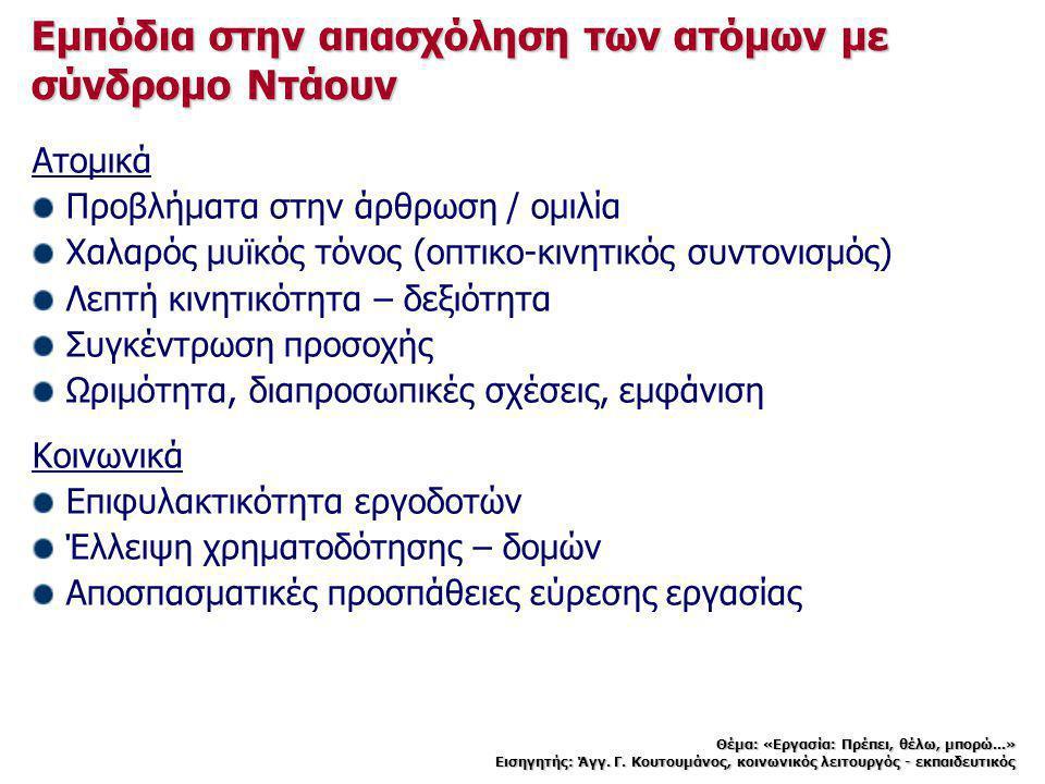 Εμπόδια στην απασχόληση των ατόμων με σύνδρομο Ντάουν Ατομικά Προβλήματα στην άρθρωση / ομιλία Χαλαρός μυϊκός τόνος (οπτικο-κινητικός συντονισμός) Λεπ
