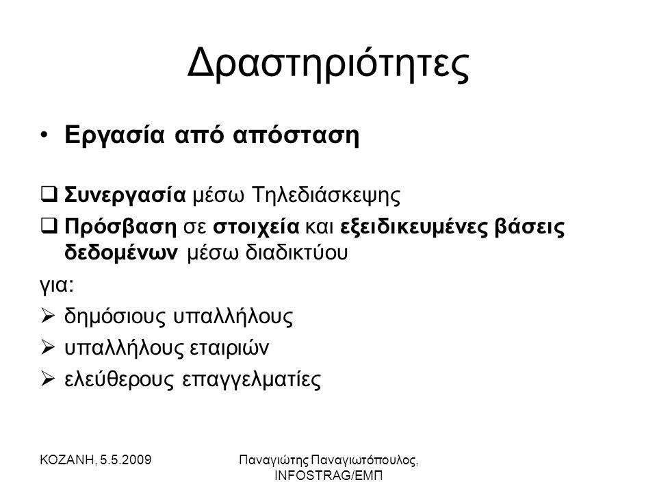 ΚΟΖΑΝΗ, 5.5.2009Παναγιώτης Παναγιωτόπουλος, INFOSTRAG/ΕΜΠ Δραστηριότητες •Εργασία από απόσταση  Συνεργασία μέσω Τηλεδιάσκεψης  Πρόσβαση σε στοιχεία