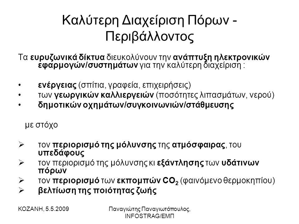 ΚΟΖΑΝΗ, 5.5.2009Παναγιώτης Παναγιωτόπουλος, INFOSTRAG/ΕΜΠ Καλύτερη Διαχείριση Πόρων - Περιβάλλοντος Τα ευρυζωνικά δίκτυα διευκολύνουν την ανάπτυξη ηλεκτρονικών εφαρμογών/συστημάτων για την καλύτερη διαχείριση : •ενέργειας (σπίτια, γραφεία, επιχειρήσεις) •των γεωργικών καλλιεργειών (ποσότητες λιπασμάτων, νερού) •δημοτικών οχημάτων/συγκοινωνιών/στάθμευσης με στόχο  τον περιορισμό της μόλυνσης της ατμόσφαιρας, του υπεδάφους  τον περιορισμό της μόλυνσης κι εξάντλησης των υδάτινων πόρων  τον περιορισμό των εκπομπών CO 2 (φαινόμενο θερμοκηπίου)  βελτίωση της ποιότητας ζωής