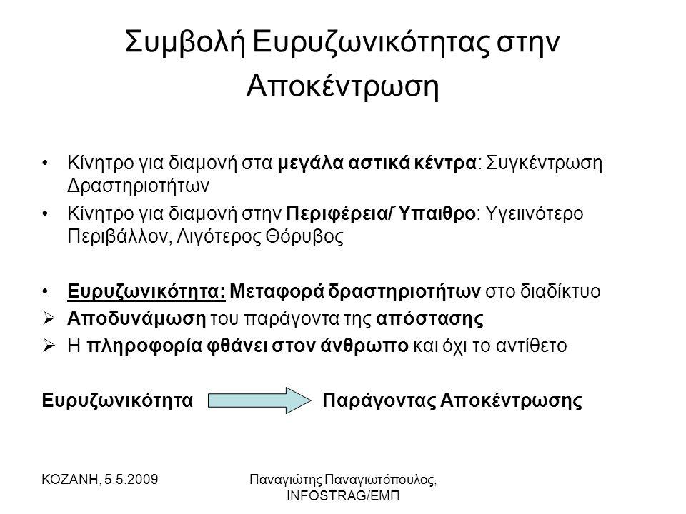 ΚΟΖΑΝΗ, 5.5.2009Παναγιώτης Παναγιωτόπουλος, INFOSTRAG/ΕΜΠ Συμβολή Ευρυζωνικότητας στην Αποκέντρωση •Κίνητρο για διαμονή στα μεγάλα αστικά κέντρα: Συγκ