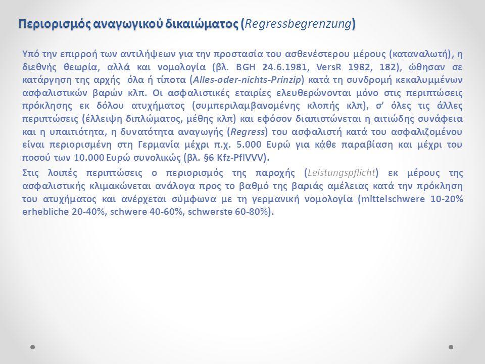 Περιορισμός αναγωγικού δικαιώματος () Περιορισμός αναγωγικού δικαιώματος (Regressbegrenzung) Υπό την επιρροή των αντιλήψεων για την προστασία του ασθε