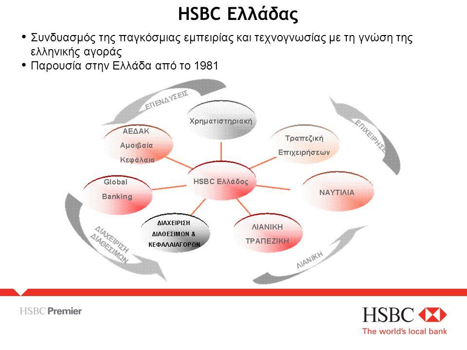 HSBC Ελλάδας • Συνδυασμός της παγκόσμιας εμπειρίας και τεχνογνωσίας με τη γνώση της ελληνικής αγοράς • Παρουσία στην Ελλάδα από το 1981
