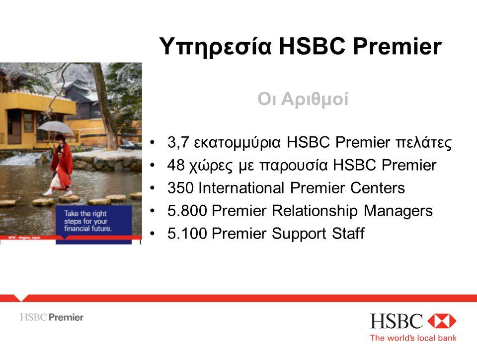•3,7 εκατομμύρια HSBC Premier πελάτες •48 χώρες με παρουσία HSBC Premier •350 International Premier Centers •5.800 Premier Relationship Managers •5.100 Premier Support Staff Υπηρεσία HSBC Premier Οι Αριθμοί