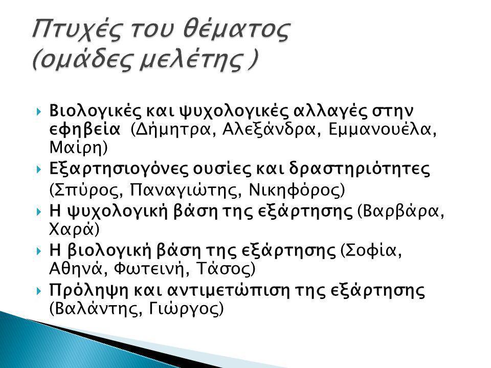  Βιολογικές και ψυχολογικές αλλαγές στην εφηβεία (Δήμητρα, Αλεξάνδρα, Εμμανουέλα, Μαίρη)  Εξαρτησιογόνες ουσίες και δραστηριότητες (Σπύρος, Παναγιώτ
