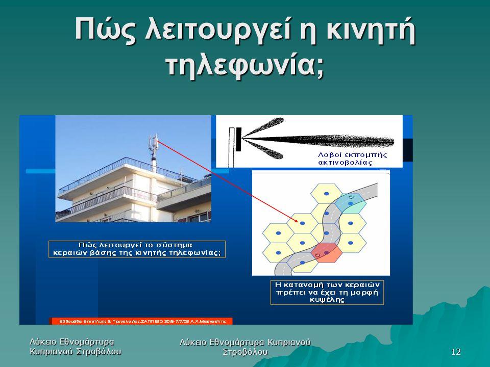 Πώς λειτουργεί η κινητή τηλεφωνία; Λύκειο Εθνομάρτυρα Κυπριανού Στροβόλου 12