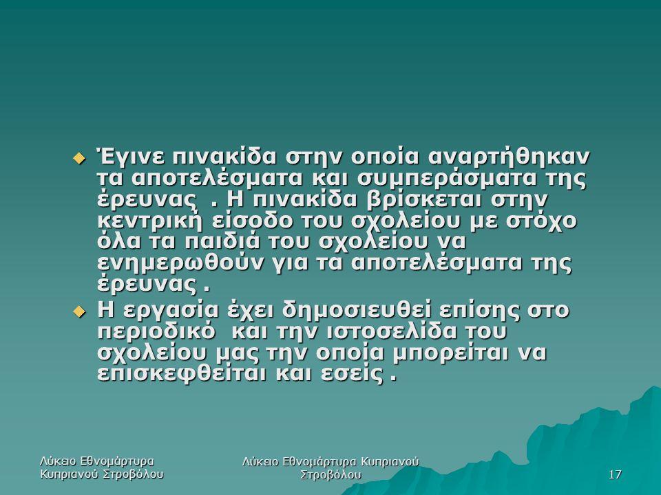 Λύκειο Εθνομάρτυρα Κυπριανού Στροβόλου 17  Έγινε πινακίδα στην οποία αναρτήθηκαν τα αποτελέσματα και συμπεράσματα της έρευνας. Η πινακίδα βρίσκεται σ