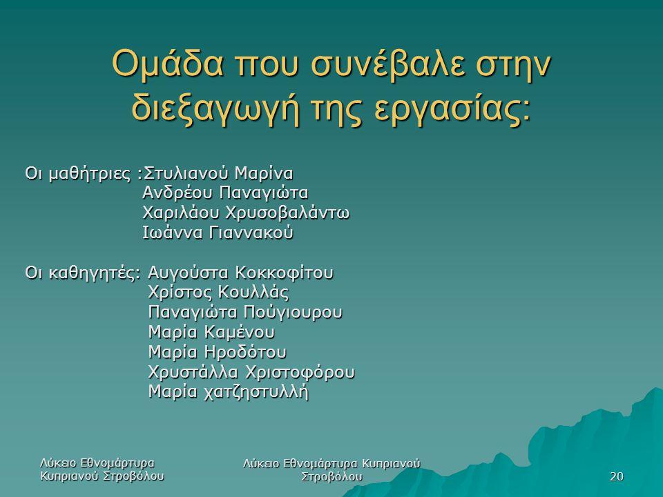 Λύκειο Εθνομάρτυρα Κυπριανού Στροβόλου 20 Ομάδα που συνέβαλε στην διεξαγωγή της εργασίας: Οι μαθήτριες :Στυλιανού Μαρίνα Ανδρέου Παναγιώτα Ανδρέου Παν
