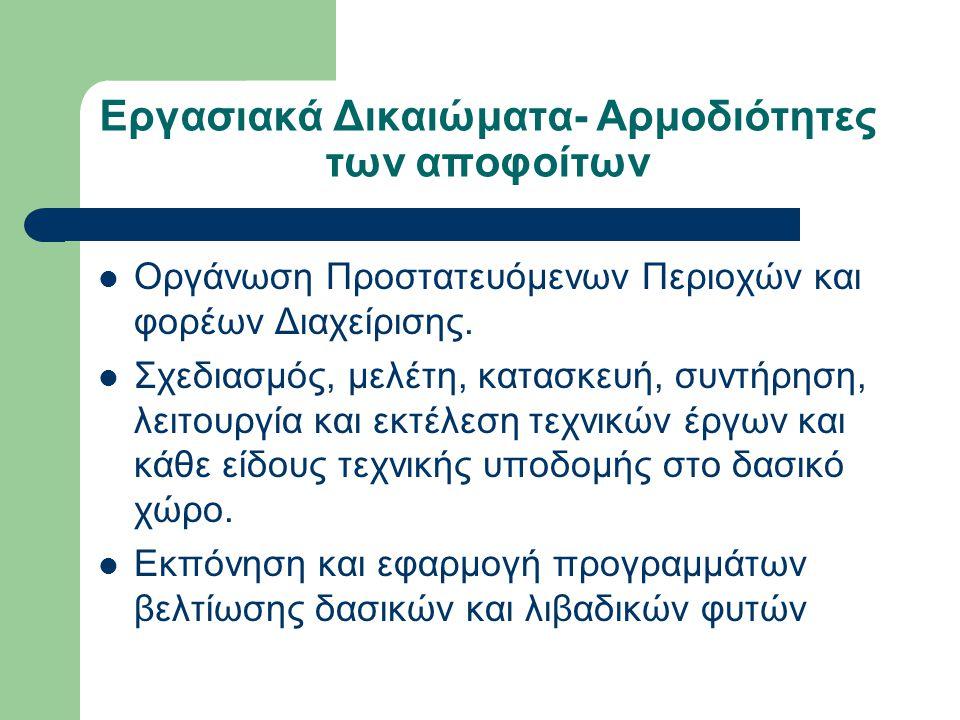 Εργασιακά Δικαιώματα- Αρμοδιότητες των αποφοίτων  Οργάνωση Προστατευόμενων Περιοχών και φορέων Διαχείρισης.  Σχεδιασμός, μελέτη, κατασκευή, συντήρησ