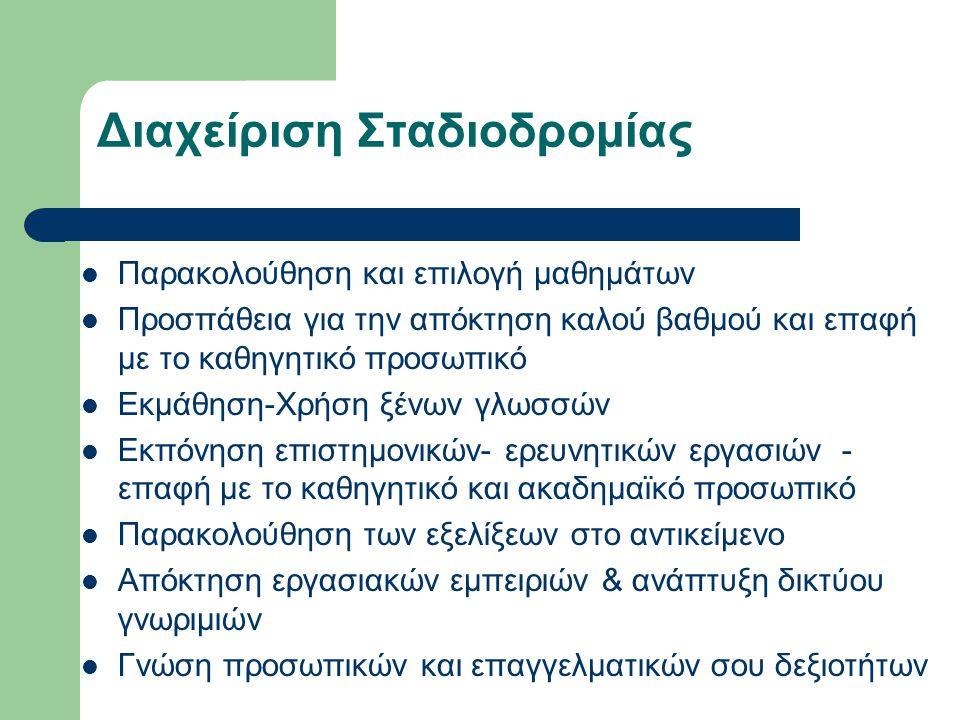 Διαχείριση Σταδιοδρομίας  Παρακολούθηση και επιλογή μαθημάτων  Προσπάθεια για την απόκτηση καλού βαθμού και επαφή με το καθηγητικό προσωπικό  Εκμάθηση-Χρήση ξένων γλωσσών  Εκπόνηση επιστημονικών- ερευνητικών εργασιών - επαφή με το καθηγητικό και ακαδημαϊκό προσωπικό  Παρακολούθηση των εξελίξεων στο αντικείμενο  Απόκτηση εργασιακών εμπειριών & ανάπτυξη δικτύου γνωριμιών  Γνώση προσωπικών και επαγγελματικών σου δεξιοτήτων