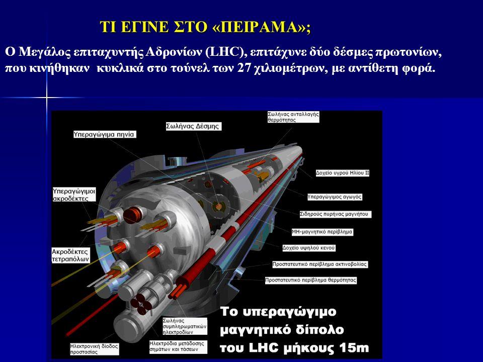 ΤΙ ΕΓΙΝΕ ΣΤΟ «ΠΕΙΡΑΜΑ»; Ο Μεγάλος επιταχυντής Αδρονίων (LHC), επιτάχυνε δύο δέσμες πρωτονίων, που κινήθηκαν κυκλικά στο τούνελ των 27 χιλιομέτρων, με