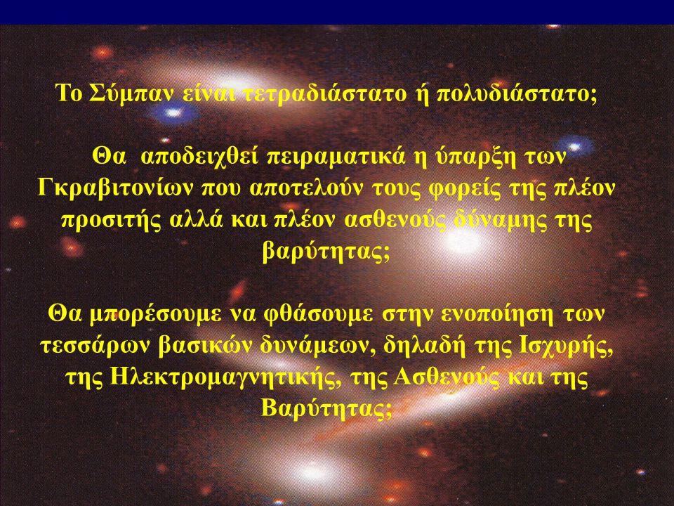 Το Σύμπαν είναι τετραδιάστατο ή πολυδιάστατο; Θα αποδειχθεί πειραματικά η ύπαρξη των Γκραβιτονίων που αποτελούν τους φορείς της πλέον προσιτής αλλά κα