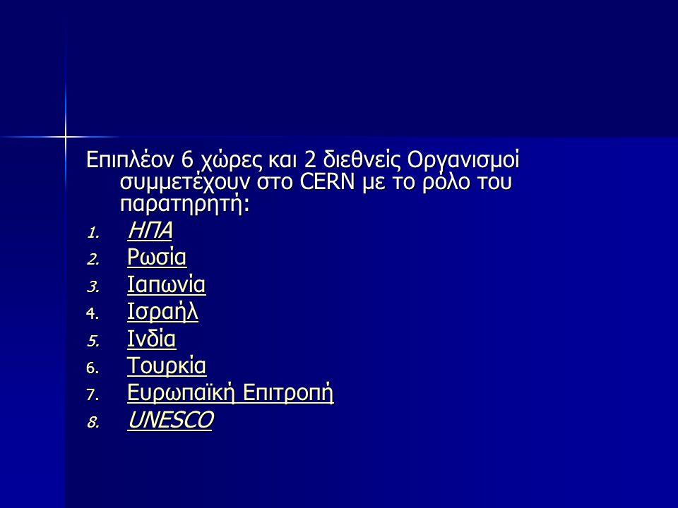 Επιπλέον 6 χώρες και 2 διεθνείς Οργανισμοί συμμετέχουν στο CERN με το ρόλο του παρατηρητή: 1. ΗΠΑ ΗΠΑ 2. Ρωσία Ρωσία 3. Ιαπωνία Ιαπωνία 4. Ισραήλ Ισρα