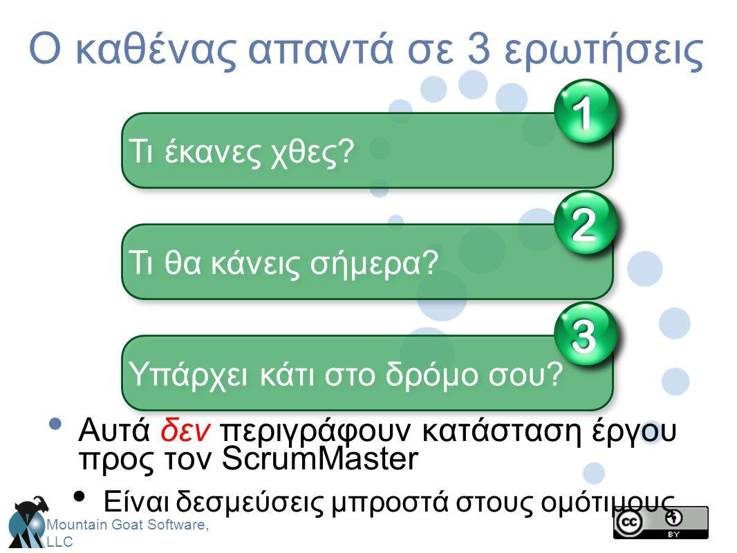 Mountain Goat Software, LLC Ο καθένας απαντά σε 3 ερωτήσεις • Αυτά δεν περιγράφουν κατάσταση έργου προς τον ScrumMaster • Είναι δεσμεύσεις μπροστά στο