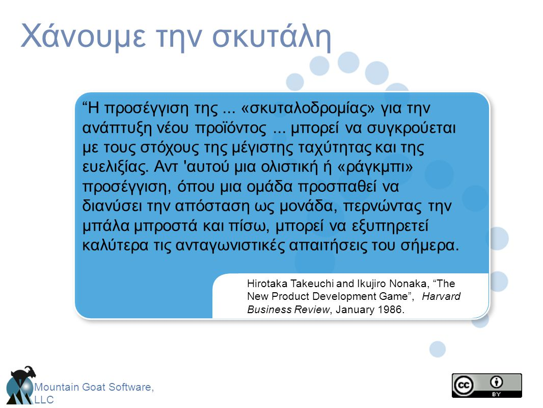 Mountain Goat Software, LLC Διαδοχική έναντι επικαλυπτόμενης ανάπτυξης Πηγή: The New Product Development Game by Takeuchi and Nonaka.