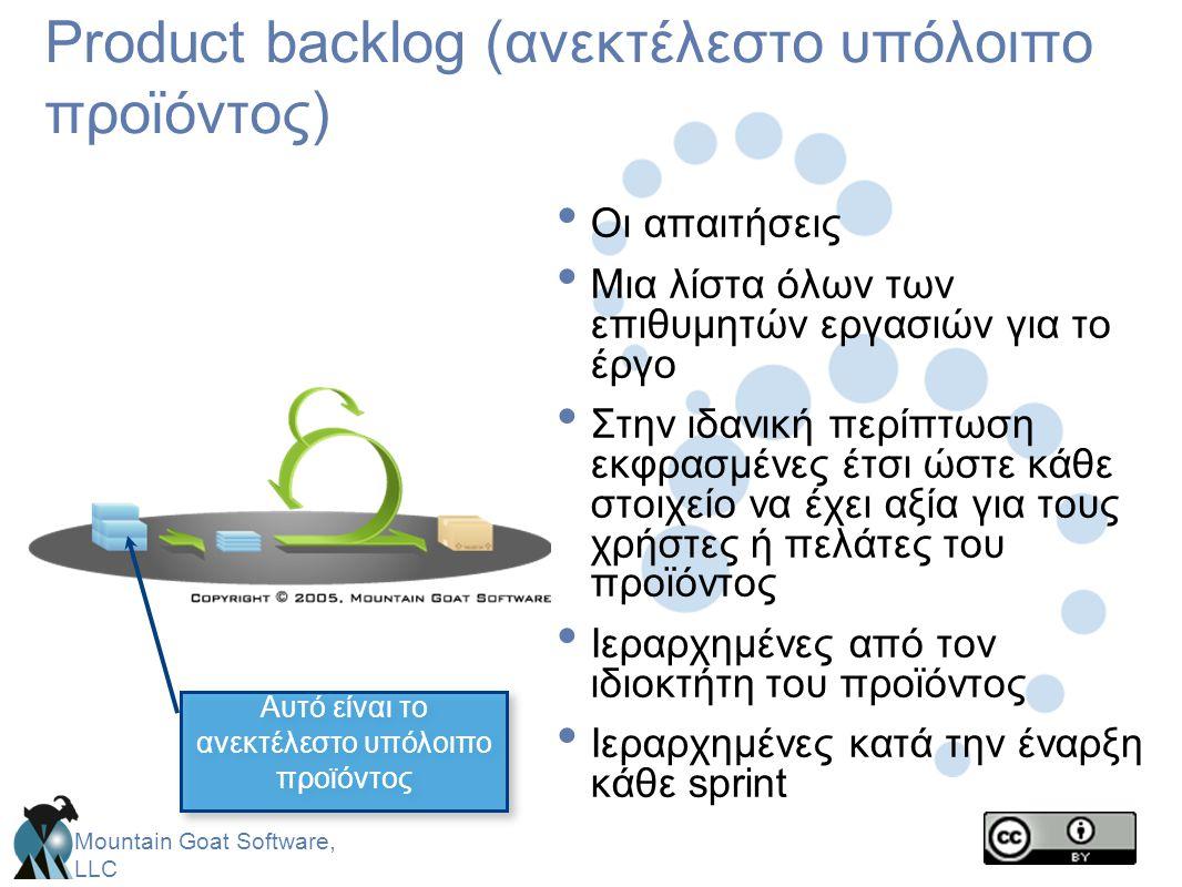 Mountain Goat Software, LLC Product backlog (ανεκτέλεστο υπόλοιπο προϊόντος) • Οι απαιτήσεις • Μια λίστα όλων των επιθυμητών εργασιών για το έργο • Στ