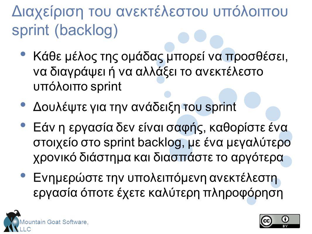 Mountain Goat Software, LLC Διαχείριση του ανεκτέλεστου υπόλοιπου sprint (backlog) • Κάθε μέλος της ομάδας μπορεί να προσθέσει, να διαγράψει ή να αλλά