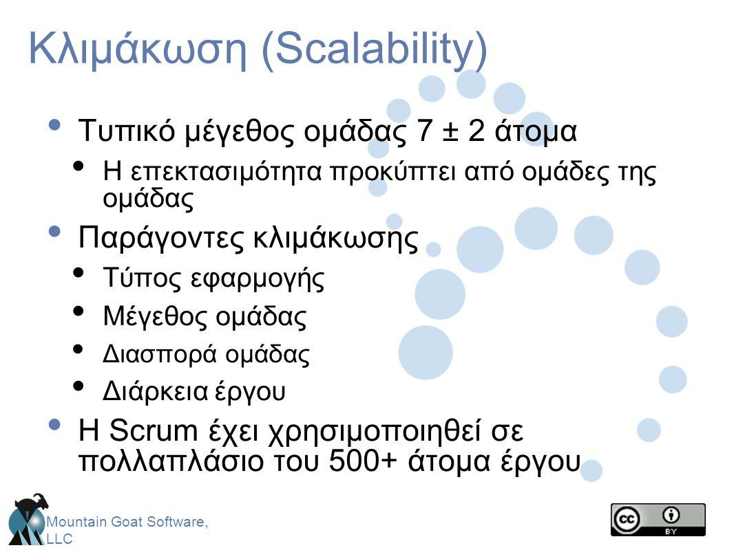 Mountain Goat Software, LLC Κλιμάκωση (Scalability) • Τυπικό μέγεθος ομάδας 7 ± 2 άτομα • Η επεκτασιμότητα προκύπτει από ομάδες της ομάδας • Παράγοντε