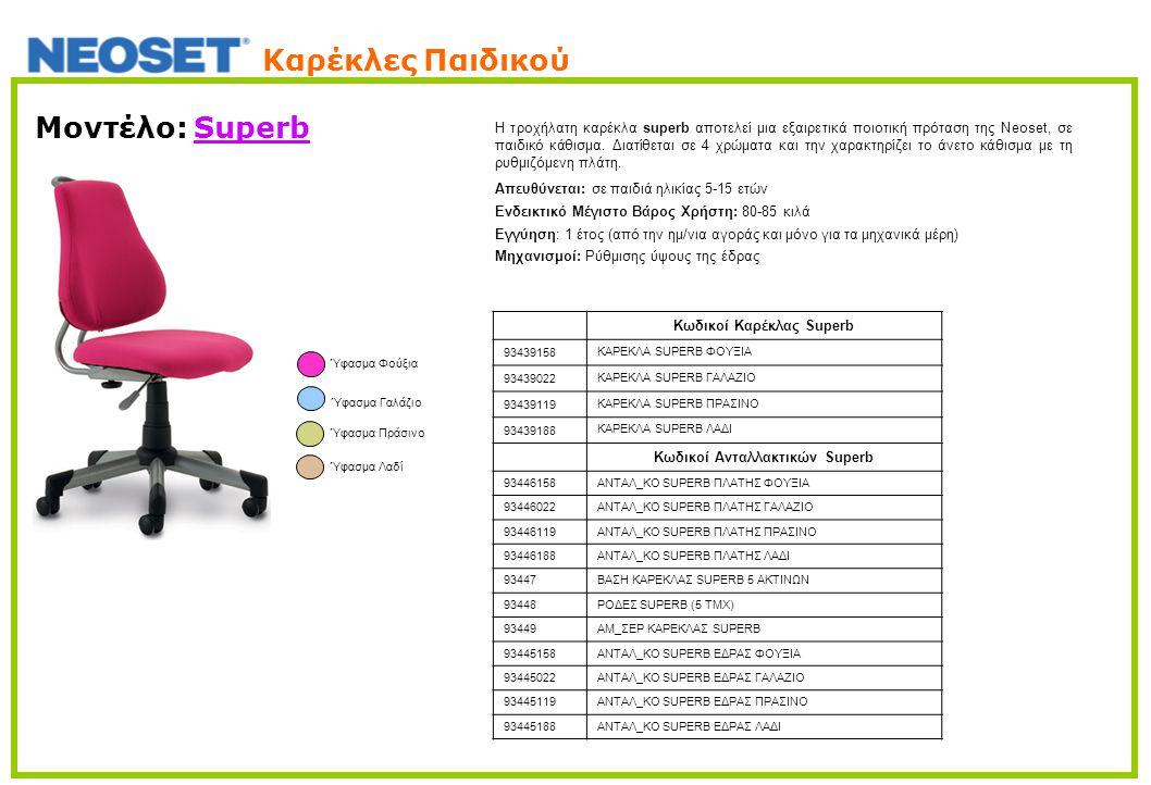 Μοντέλο: Superb H τροχήλατη καρέκλα superb αποτελεί μια εξαιρετικά ποιοτική πρόταση της Neoset, σε παιδικό κάθισμα. Διατίθεται σε 4 χρώματα και την χα