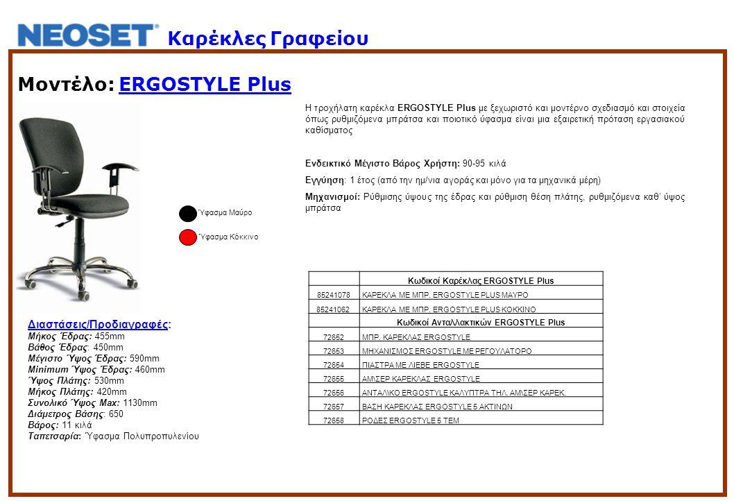 Μοντέλο: ERGOSTYLE Plus Η τροχήλατη καρέκλα ERGOSTYLE Plus με ξεχωριστό και μοντέρνο σχεδιασμό και στοιχεία όπως ρυθμιζόμενα μπράτσα και ποιοτικό ύφασμα είναι μια εξαιρετική πρόταση εργασιακού καθίσματος Ενδεικτικό Μέγιστο Βάρος Χρήστη: 90-95 κιλά Εγγύηση: 1 έτος (από την ημ/νια αγοράς και μόνο για τα μηχανικά μέρη) Μηχανισμοί: Ρύθμισης ύψους της έδρας και ρύθμιση θέση πλάτης, ρυθμιζόμενα καθ' ύψος μπράτσα Ύφασμα Μαύρο Κωδικοί Καρέκλας ERGOSTYLE Plus 85241078 ΚΑΡΕΚΛΑ ΜΕ ΜΠΡ.