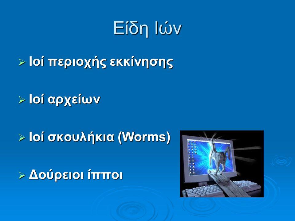 Είδη Ιών  Ιοί περιοχής εκκίνησης  Ιοί αρχείων  Ιοί σκουλήκια (Worms)  Δούρειοι ίπποι