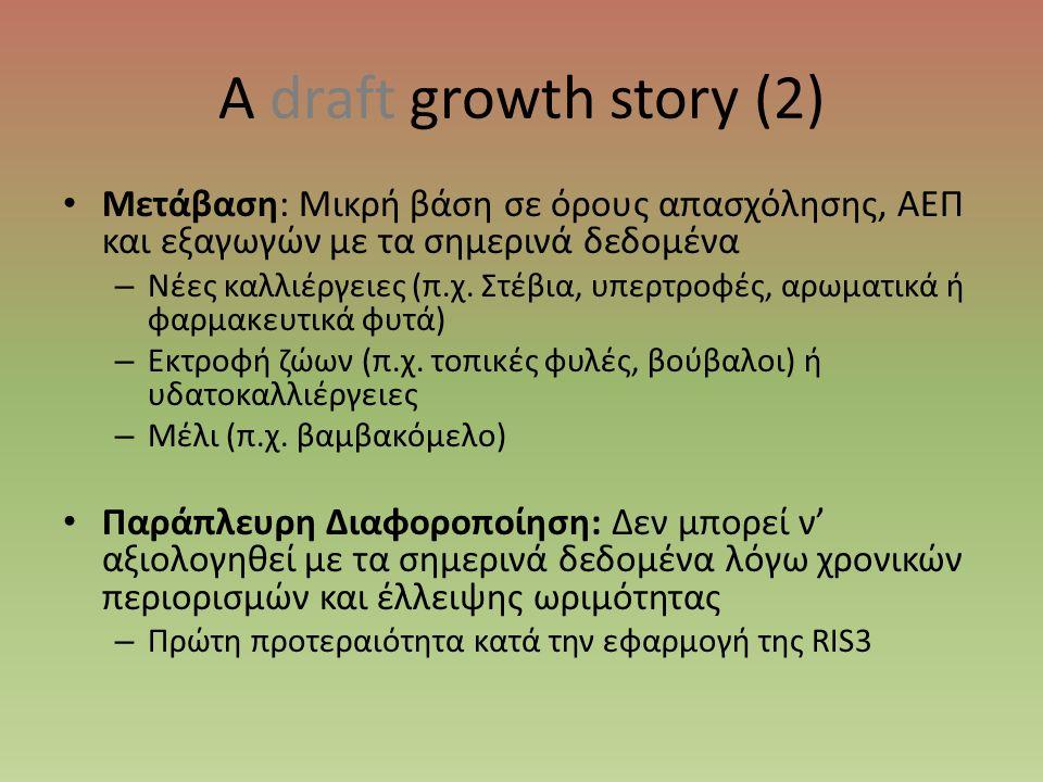 A draft growth story (2) • Μετάβαση: Μικρή βάση σε όρους απασχόλησης, ΑΕΠ και εξαγωγών με τα σημερινά δεδομένα – Νέες καλλιέργειες (π.χ. Στέβια, υπερτ