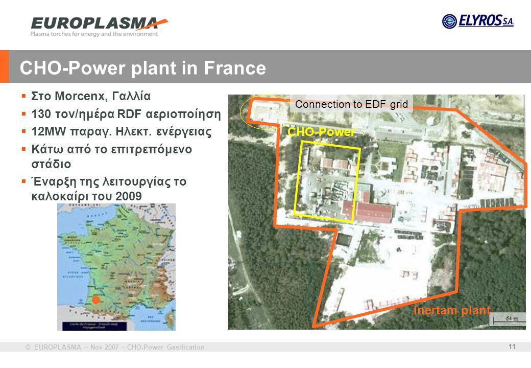 © EUROPLASMA – Nov 2007 – CHO-Power Gasification 11 CHO-Power plant in France  Στο Morcenx, Γαλλία  130 τον/ημέρα RDF αεριοποίηση  12MW παραγ. Ηλεκ