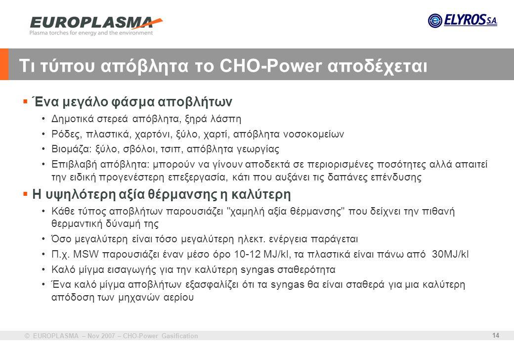 © EUROPLASMA – Nov 2007 – CHO-Power Gasification 14 Τι τύπου απόβλητα το CHO-Power αποδέχεται  Ένα μεγάλο φάσμα αποβλήτων •Δημοτικά στερεά απόβλητα,