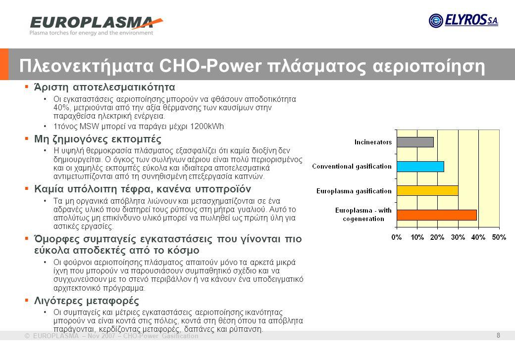 © EUROPLASMA – Nov 2007 – CHO-Power Gasification 8 Πλεονεκτήματα CHO-Power πλάσματος αεριοποίηση  Άριστη αποτελεσματικότητα •Οι εγκαταστάσεις αεριοπο
