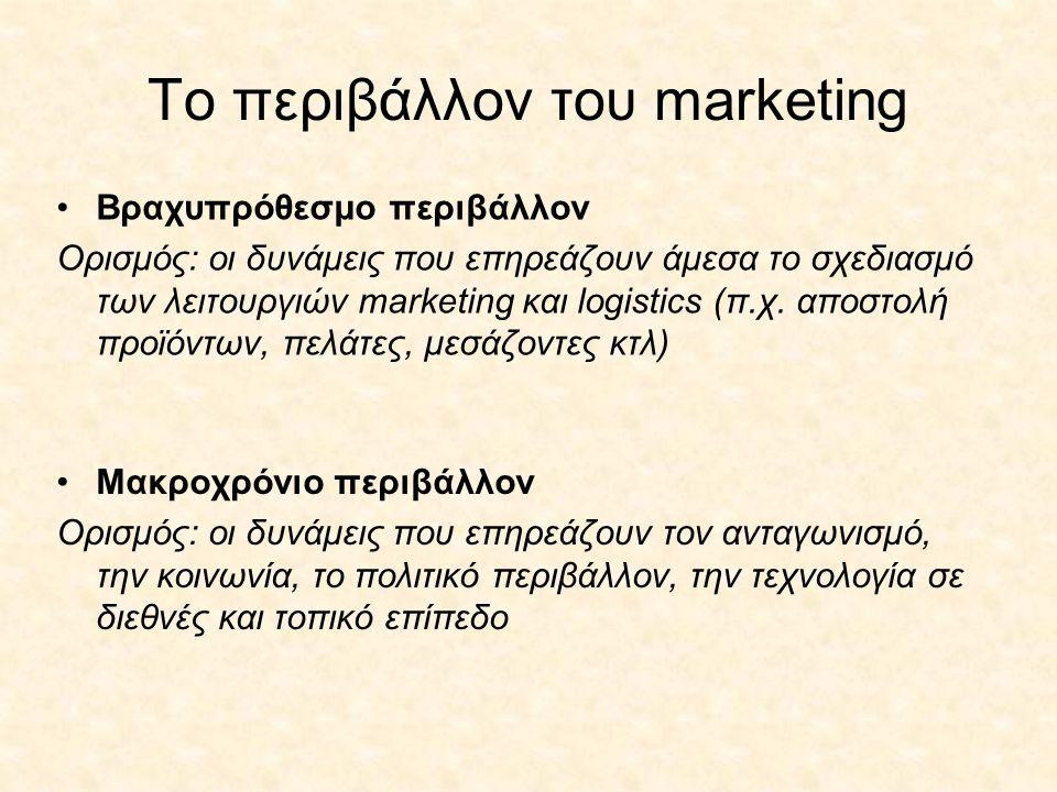 To περιβάλλον του marketing •Βραχυπρόθεσμο περιβάλλον Ορισμός: οι δυνάμεις που επηρεάζουν άμεσα το σχεδιασμό των λειτουργιών marketing και logistics (