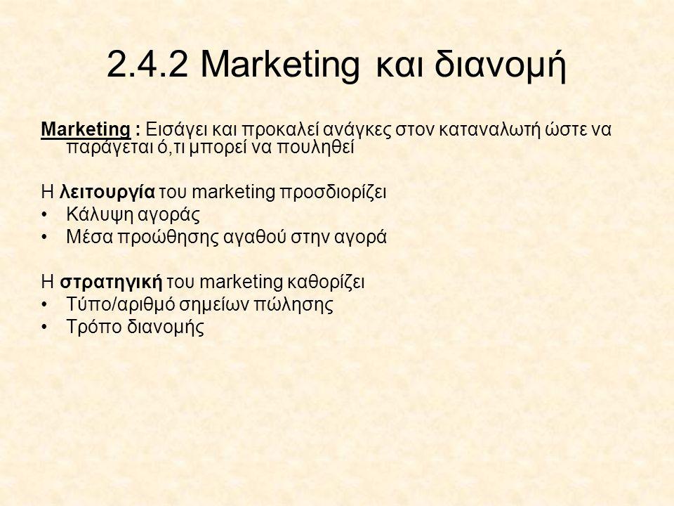 2.4.2 Marketing και διανομή Marketing : Εισάγει και προκαλεί ανάγκες στον καταναλωτή ώστε να παράγεται ό,τι μπορεί να πουληθεί Η λειτουργία του market
