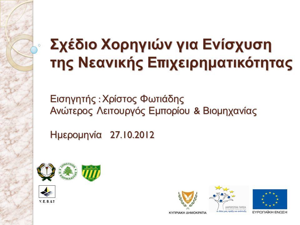 Σχέδιο Χορηγιών για Ενίσχυση της Νεανικής Ε π ιχειρηματικότητας Εισηγητής : Χρίστος Φωτιάδης Ανώτερος Λειτουργός Εμ π ορίου & Βιομηχανίας Ημερομηνία 2