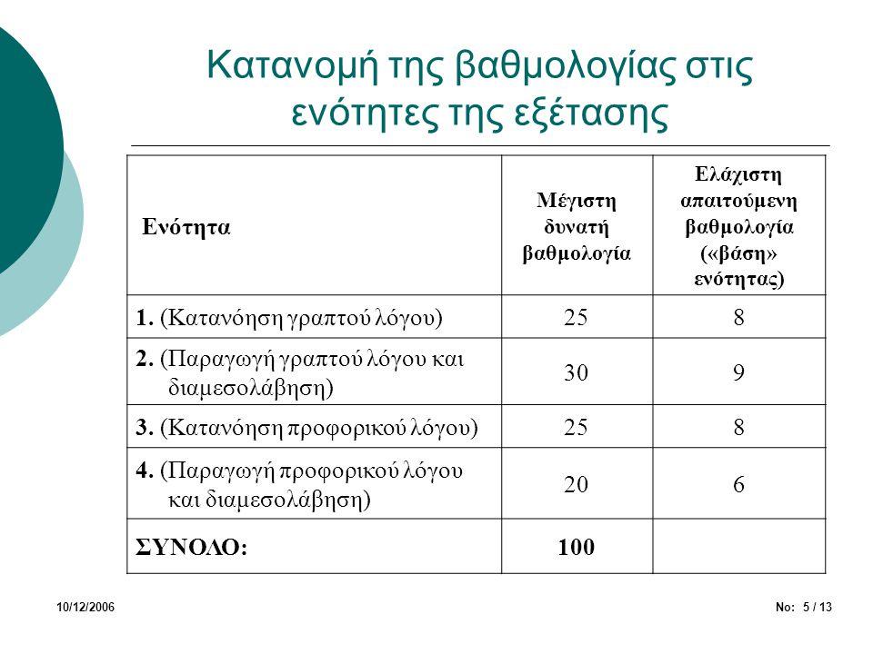 Κατανομή της βαθμολογίας στις ενότητες της εξέτασης 10/12/2006Νο: 5 / 13 Ενότητα Μέγιστη δυνατή βαθμολογία Ελάχιστη απαιτούμενη βαθμολογία («βάση» ενό