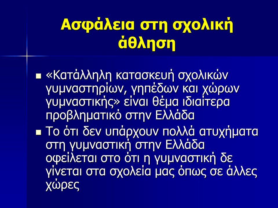 Ασφάλεια στη σχολική άθληση  «Κατάλληλη κατασκευή σχολικών γυμναστηρίων, γηπέδων και χώρων γυμναστικής» είναι θέμα ιδιαίτερα προβληματικό στην Ελλάδα