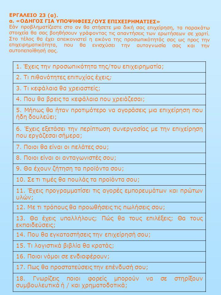 ΕΡΓΑΛΕΙΟ 23 (α). α. «ΟΔΗΓΟΣ ΓΙΑ ΥΠΟΨΗΦΙΕΣ/ΟΥΣ ΕΠΙΧΕΙΡΗΜΑΤΙΕΣ» Εάν προβληματίζεστε στο αν θα στήσετε μια δική σας επιχείρηση, τα παρακάτω στοιχεία θα σ