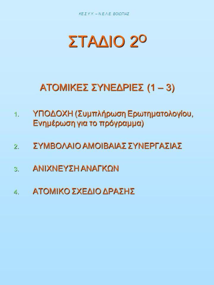 ΣΤΑΔΙΟ 2 Ο ΑΤΟΜΙΚΕΣ ΣΥΝΕΔΡΙΕΣ (1 – 3) 1. ΥΠΟΔΟΧΗ (Συμπλήρωση Ερωτηματολογίου, Ενημέρωση για το πρόγραμμα) 2. ΣΥΜΒΟΛΑΙΟ ΑΜΟΙΒΑΙΑΣ ΣΥΝΕΡΓΑΣΙΑΣ 3. ΑΝΙΧΝΕ