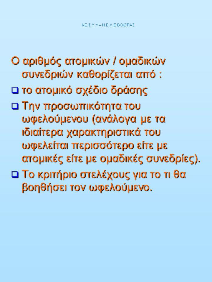 Ο αριθμός ατομικών / ομαδικών συνεδριών καθορίζεται από :  το ατομικό σχέδιο δράσης  Την προσωπικότητα του ωφελούμενου (ανάλογα με τα ιδιαίτερα χαρα