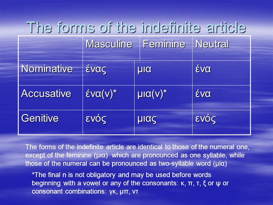 The forms of the indefinite article MasculineFeminineNeutral Nominativeέναςμιαένα Accusativeένα(ν)*μια(ν)*ένα Genitiveενόςμιαςενός The forms of the indefinite article are identical to those of the numeral one, except of the feminine (μια) which are pronounced as one syllable, while those of the numeral can be pronounced as two-syllable word (μία) *The final n is not obligatory and may be used before words beginning with a vowel or any of the consonants: κ, π, τ, ξ or ψ or consonant combinations: γκ, μπ, ντ