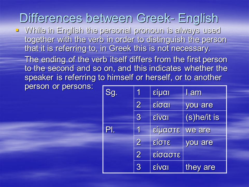Differences between Greek- English  While in English the personal pronoun is always used together with the verb in order to distinguish the person that it is referring to, in Greek this is not necessary.