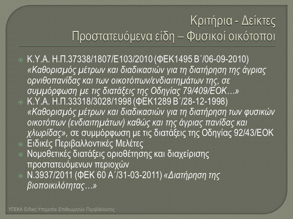  Κ.Υ.Α. Η.Π.37338/1807/Ε103/2010 (ΦΕΚ1495 Β΄/06-09-2010) «Καθορισμός μέτρων και διαδικασιών για τη διατήρηση της άγριας ορνιθοπανίδας και των οικοτόπ