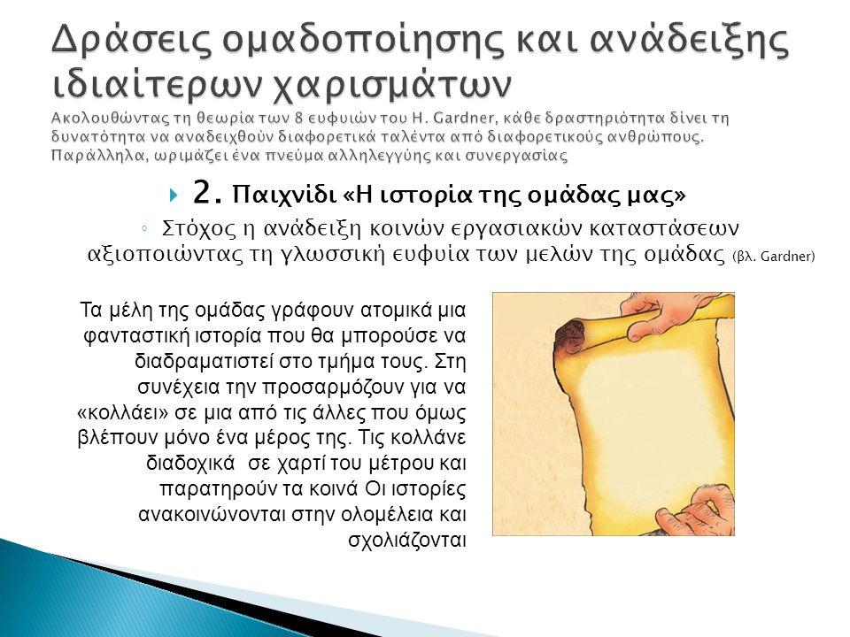  2. Παιχνίδι «Η ιστορία της ομάδας μας» ◦ Στόχος η ανάδειξη κοινών εργασιακών καταστάσεων αξιοποιώντας τη γλωσσική ευφυία των μελών της ομάδας (βλ. G