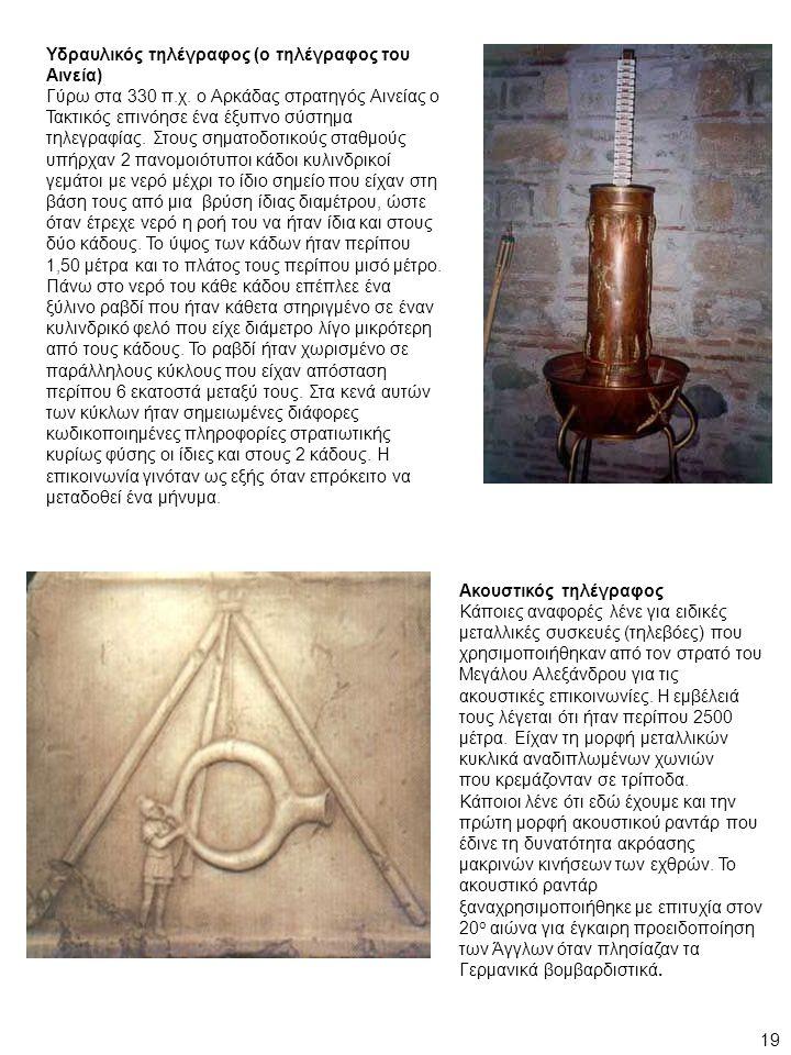 Υδραυλικός τηλέγραφος (ο τηλέγραφος του Αινεία) Γύρω στα 330 π.χ. ο Αρκάδας στρατηγός Αινείας ο Τακτικός επινόησε ένα έξυπνο σύστημα τηλεγραφίας. Στου