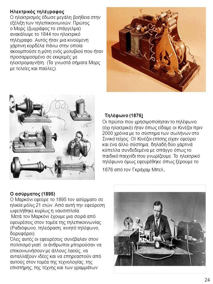Ηλεκτρικός τηλέγραφος Ο ηλεκτρισμός έδωσε μεγάλη βοήθεια στην εξέλιξη των τηλεπικοινωνιών. Πρώτος ο Μορς (ζωγράφος το επάγγελμα) ανακάλυψε το 1844 τον