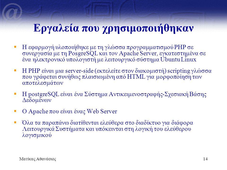 Ματίκας Αθανάσιος14 Εργαλεία που χρησιμοποιήθηκαν  Η εφαρμογή υλοποιήθηκε με τη γλώσσα προγραμματισμού PHP σε συνεργασία με τη PosgreSQL και τον Apac