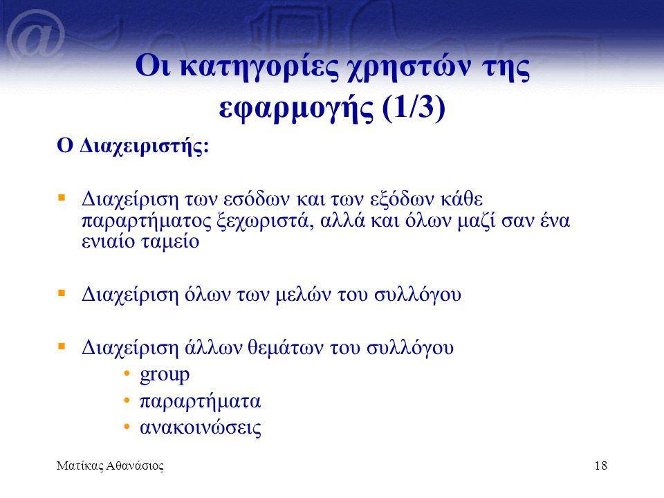 Ματίκας Αθανάσιος18 Οι κατηγορίες χρηστών της εφαρμογής (1/3) Ο Διαχειριστής:  Διαχείριση των εσόδων και των εξόδων κάθε παραρτήματος ξεχωριστά, αλλά